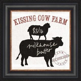 Sue Schlabach 'Farm Linen Cow Black' Framed Wall Art