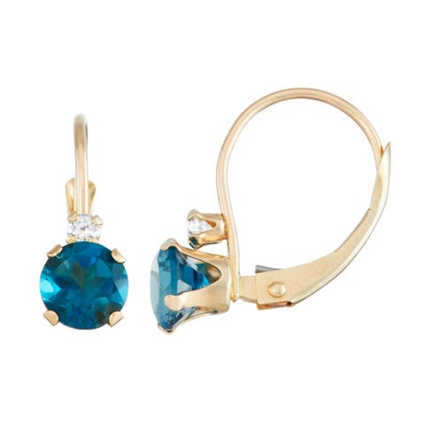 Gioelli 10K Gold London Blue Topaz Leverback Earrings