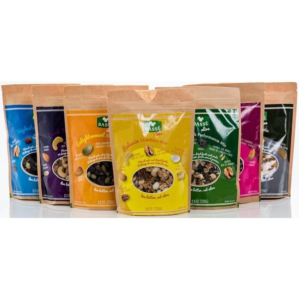 Basse Good Spirit Energy, Good Karma, HighVibe Power, Serenity Savory, and Buenavibra Performance Snack Mixes