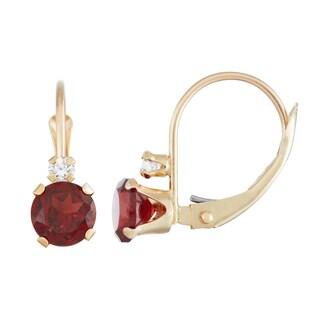 Gioelli 10K Gold Garnet Leverback Earrings