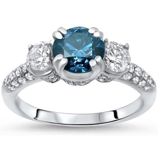 Certified Noori 14k White Gold 1 2/5 ct TDW Blue Round Cut 3 Stone Diamond Engagement Ring (Blue)