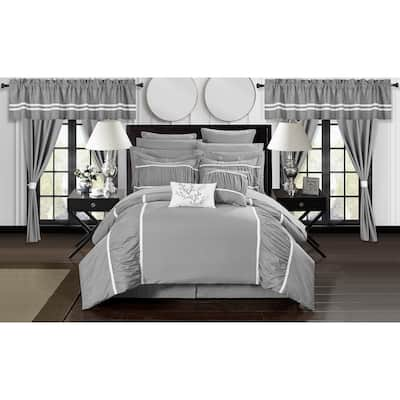Chic Home 24-Piece Auburn Bed In a Bag Comforter Set, Grey