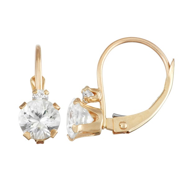 Gioelli 10k Gold Created White Sapphire Leverback Earrings. Opens flyout.