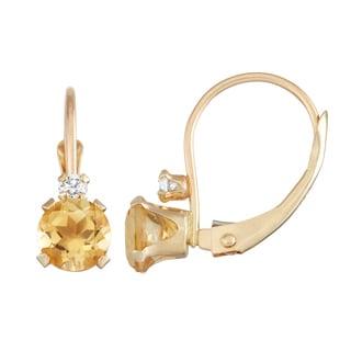 Gioelli 10K Gold Citrine Leverback Earrings