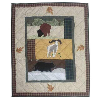 Patch Magic Hand-quilted Rocky Mountain Cotton Applique Baby Quilt