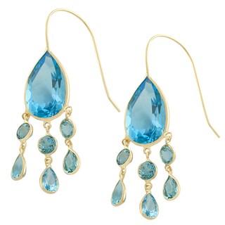 Fremada 14k Yellow Gold Pear-shaped Blue Topaz Chandelier Wire Earrings