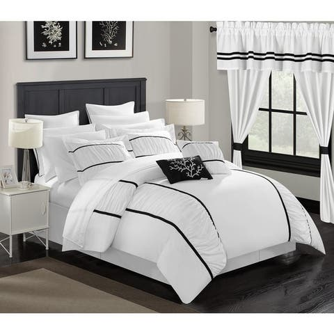 Chic Home 24-Piece Auburn Bed In a Bag Comforter Set, White