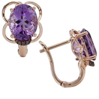 iNatemy 14K Rose Gold, Amethyst and Diamonds Earrings