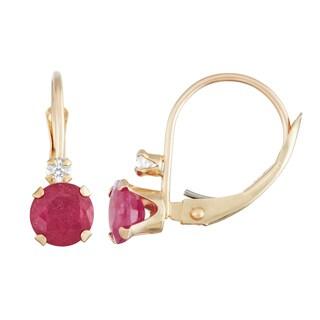 Gioelli 10k Gold Created Ruby Leverback Earrings