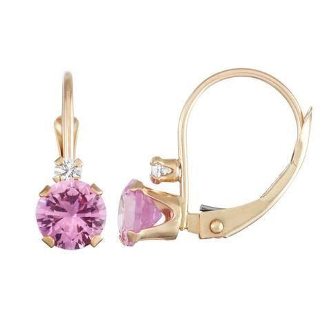 Gioelli 10k Yellow Gold Created Pink Sapphire Leverback Earrings