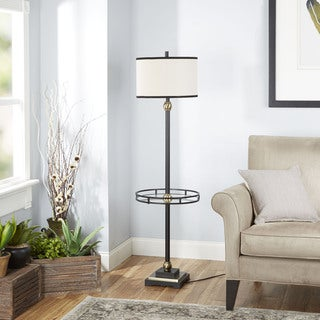 The Monroe Floor Lamp with Shade and Glass Tray