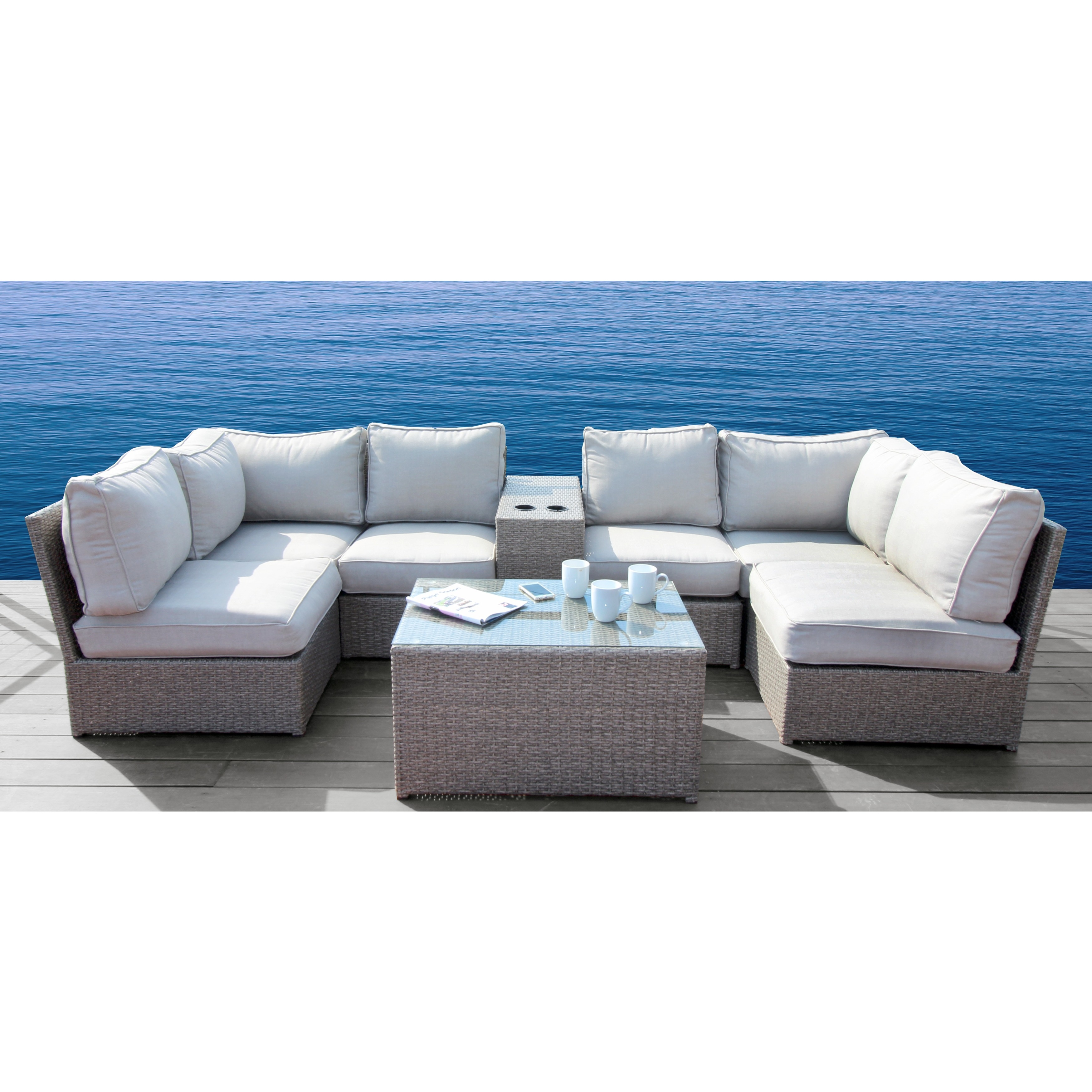 Stupendous Chelsea Grey Wicker 8 Piece Sectional Set By Living Source International Alphanode Cool Chair Designs And Ideas Alphanodeonline