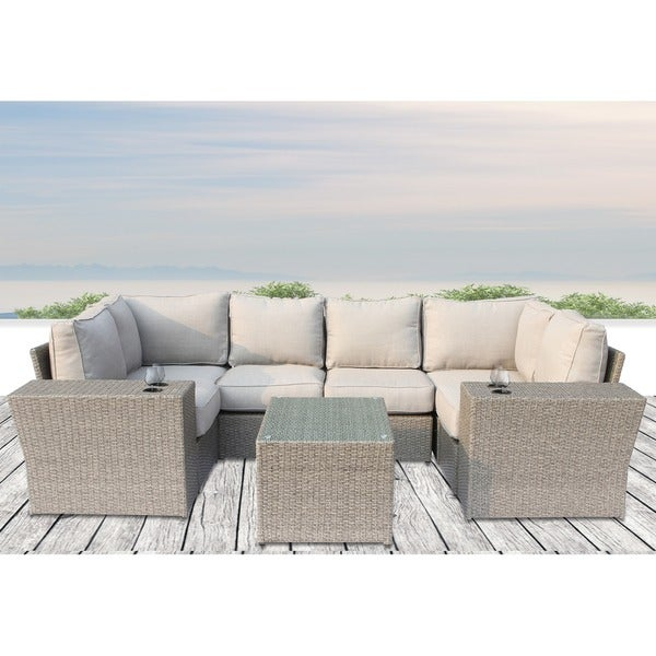 Chelsea Cup Holder Table Outdoor Grey Wicker 9 Piece Sectional Sofa Set By  Sunhaven