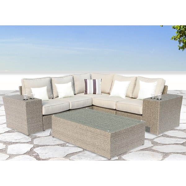 Chelsea Grey Wicker 8-piece Patio Sectional Sofa Set by Living Source International