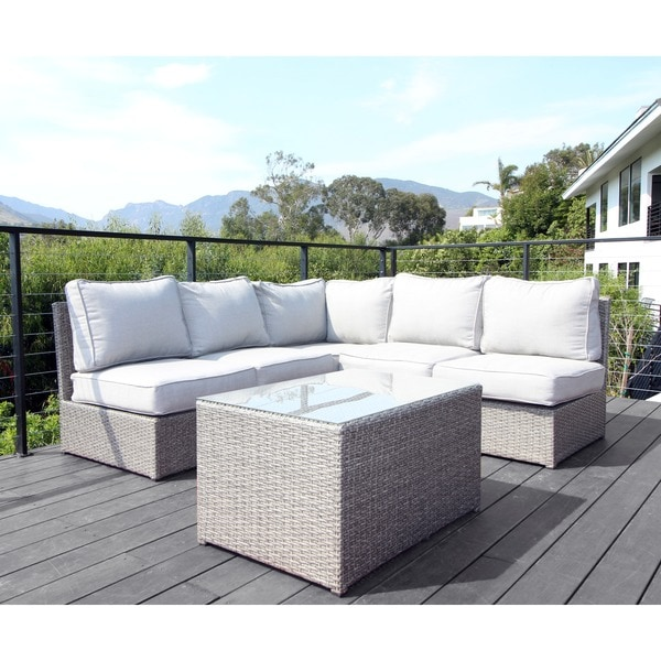 Chelsea Outdoor Grey Wicker 6-piece Sectional Sofa Set by Living Source International  sc 1 st  Overstock.com : 6 piece sectional sofa - Sectionals, Sofas & Couches