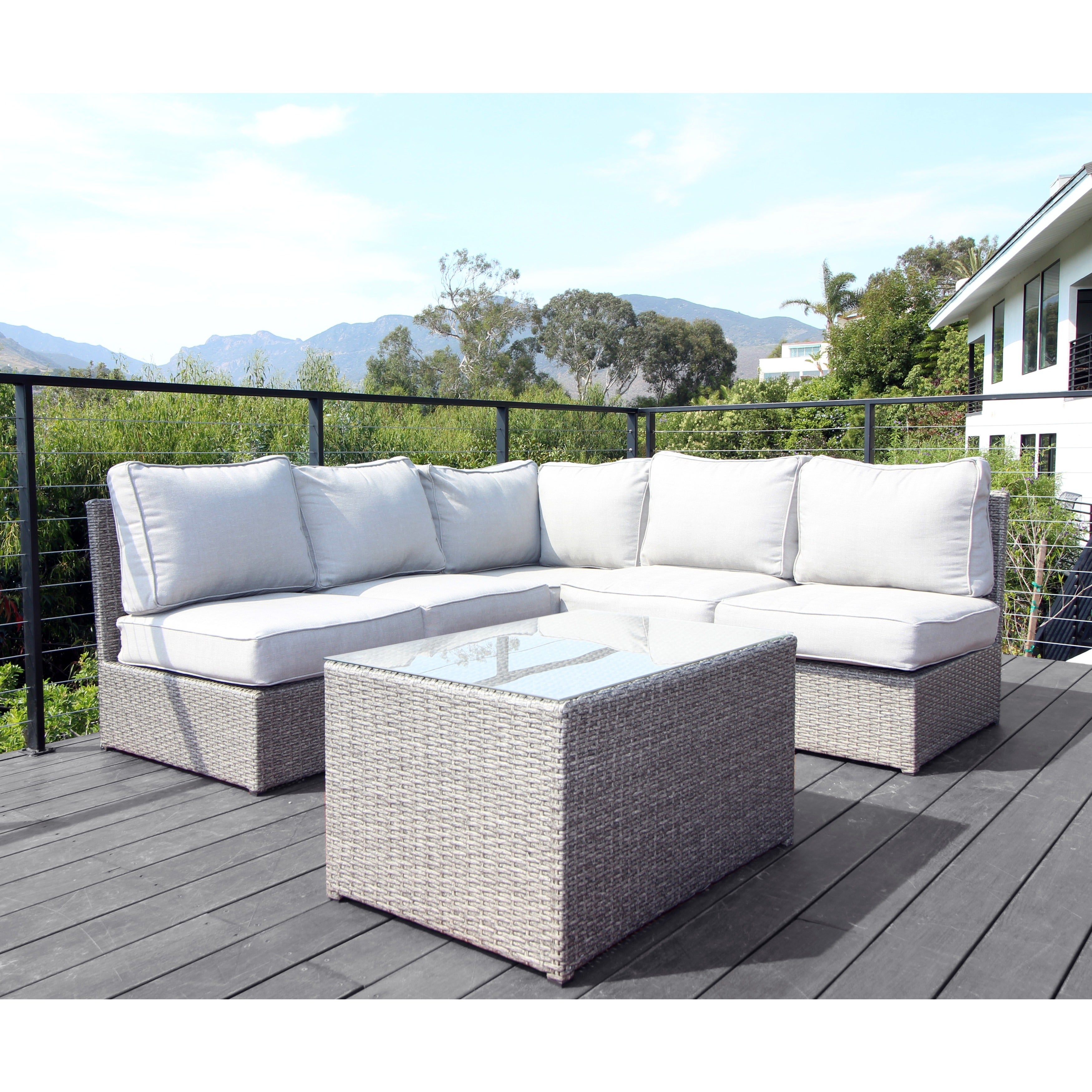 Chelsea Outdoor Grey Wicker 6-piece Sectional Sofa Set by Living ...