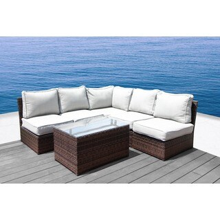 Lucca Brown Wicker 6-piece Sectional Set by Living Source International