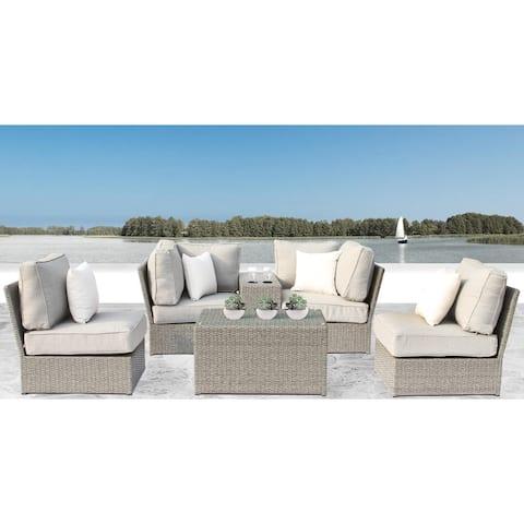 Chelsea Grey Wicker 6-piece Conversation Sofa Set by Living Source International