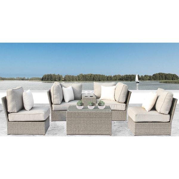 Shop Chelsea Grey Wicker 6 Piece Conversation Sofa Set By