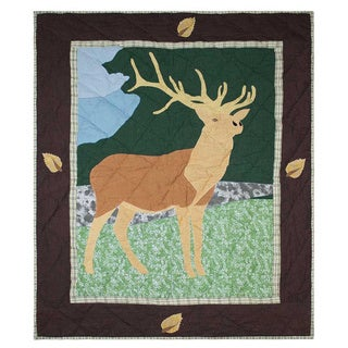 Patch Magic Hand Quilted Cotton Applique Baby Quilt Brown Elk
