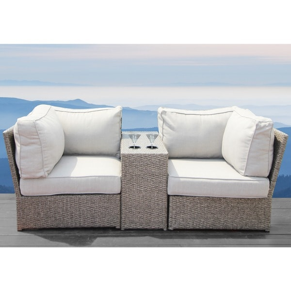 Beau Chelsea Grey Wicker Patio Loveseat Sofa By Living Source International