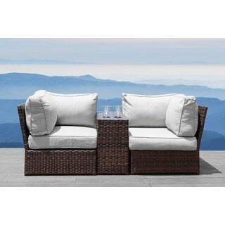 Lucca Brown Wicker Cup Holder Table and Loveseat by Living Source International