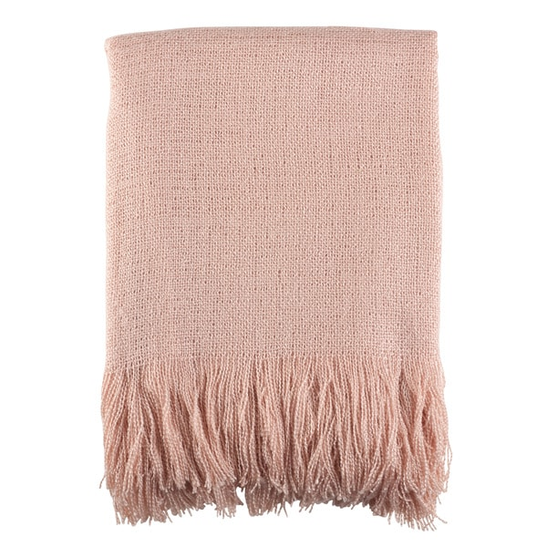 Soft Pink Woven Throw