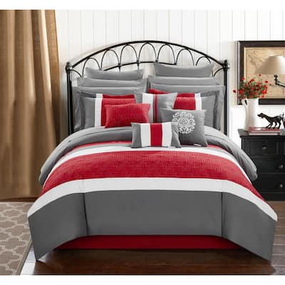 Chic Home 16-Piece Keira Bed In a Bag Comforter Set, Red