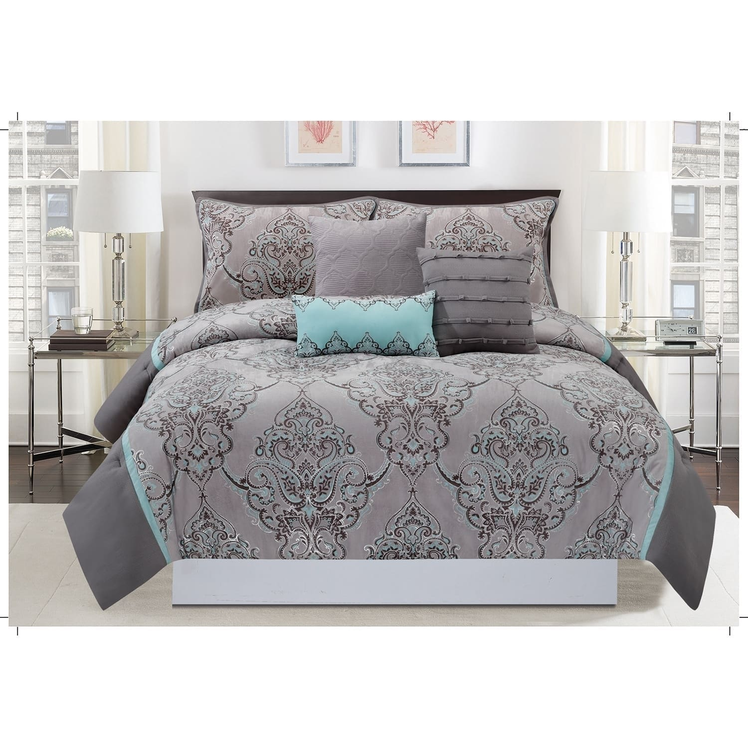 China Silver Sparkle 6 Piece comforter set (King), Brown ...