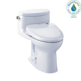 Toto Connect+ Kit Supreme II One-Piece Elongated 1.28 GPF Toilet and Washlet S350e Bidet Seat MW634584CEFG#01 Cotton White