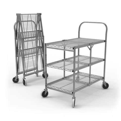 WSCC-3 Three-Shelf Collapsible Wire Utility Cart