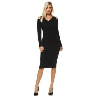White Mark Women's Taline Cutout Shoulder Midi Sweater Dress