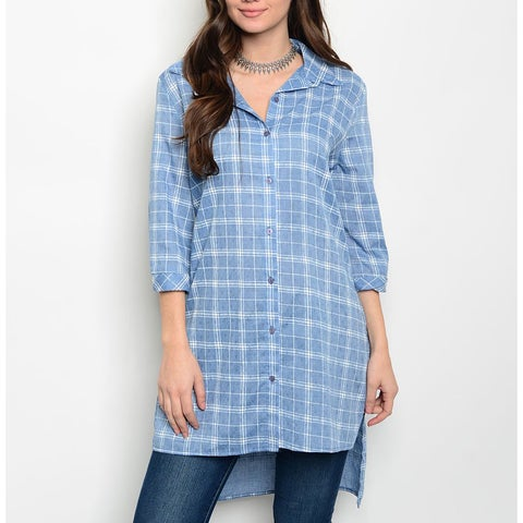 JED Women's 3/4 Sleeve Button Down Long Length Tunic