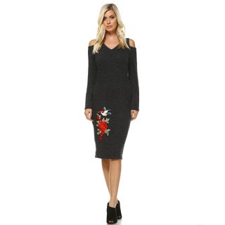 White Mark Women's 'Olympia' Acrylic Cut-Out Shoulder Embroidered Midi Sweater Dress