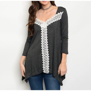 JED Women's Lace Detailed 3/4 Sleeve Trapeze Tunic