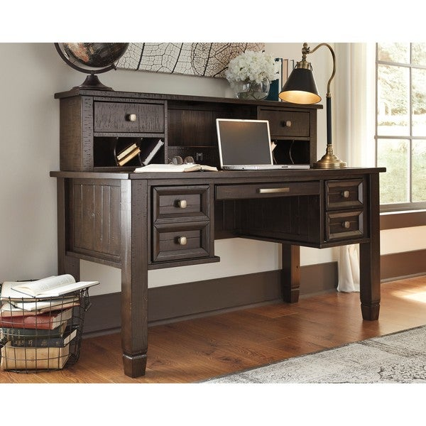 Attirant Signature Design By Ashley Townser Grey Home Office Desk Hutch
