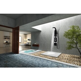 LLANO Series 56 in. Full Body Shower Panel System with Heavy Rain Shower and Spray Wand in Black