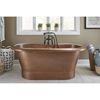 Sinkology Thales Solid Copper Freestanding Bathtub with Overflow in Hand Hammered Antique Copper - Brown