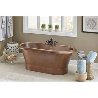 Thales Copper Freestanding Bathtub with Overflow 3-Hole Faucet Deck in Antique Copper|https://ak1.ostkcdn.com/images/products/14506705/P21062873.jpg?impolicy=medium