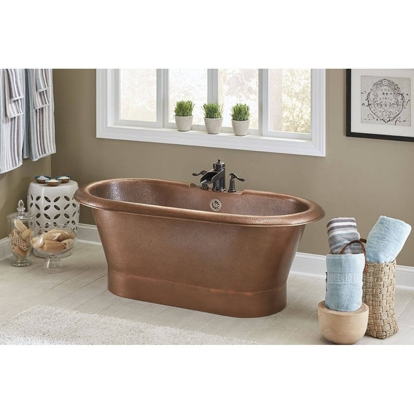 Sinkology Thales Copper Freestanding Bathtub with Overflow 3-Hole Faucet Deck in Antique Copper - Brown. Opens flyout.