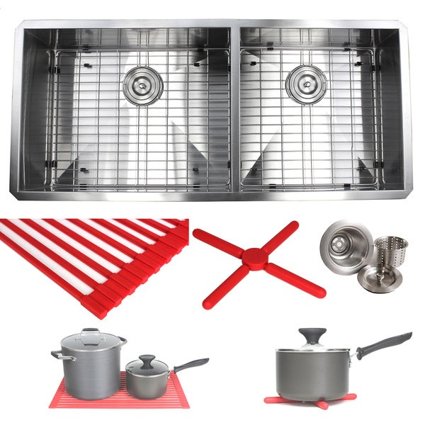 42 kitchen sink 42 inch ariel 42inch stainless steel double bowl 6040 zero radius 16 gauge undermount shop