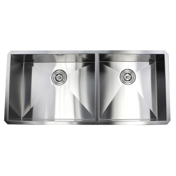 Shop Ariel 42-inch Stainless Steel Double Bowl 60/40 Zero ...