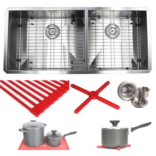 Ariel 42-inch Stainless Steel Double Bowl 60/40 Zero Radius 16 Gauge Undermount Kitchen Sink Complete Combo Accessories