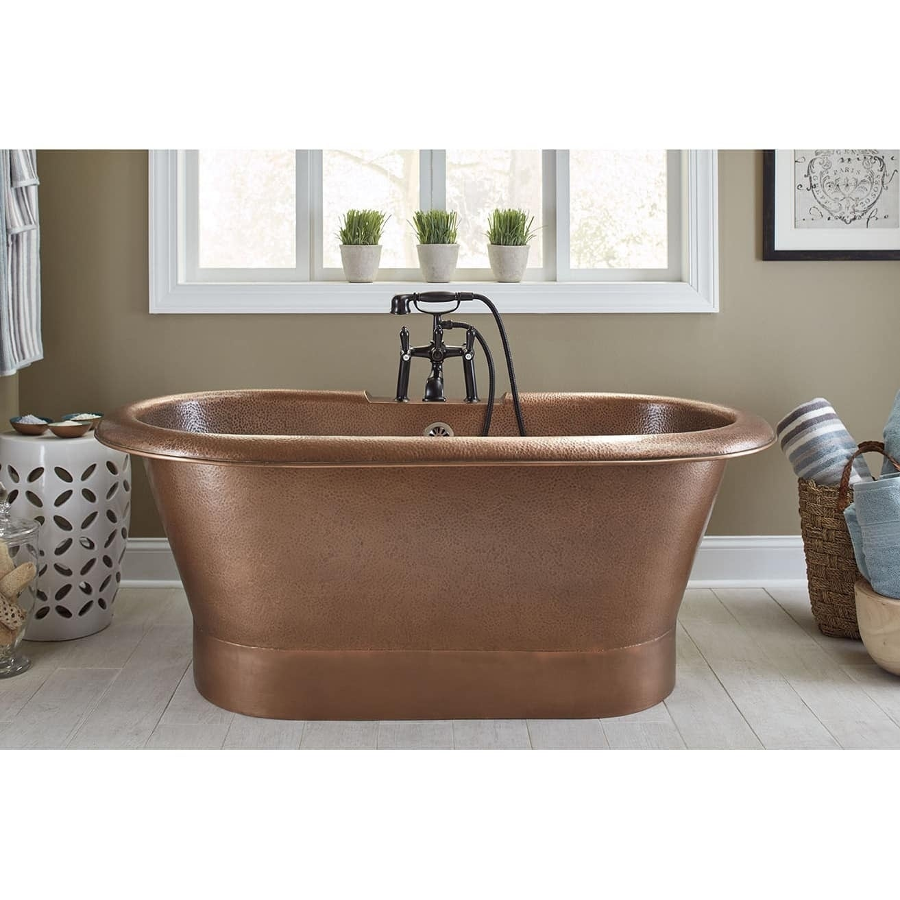 Sinkology Thales Copper Bathtub With Overflow 2 Hole Faucet Deck In Antique  Copper   Brown