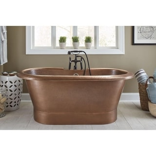 Sinkology Thales Copper Bathtub with Overflow 2-Hole Faucet Deck in Antique Copper
