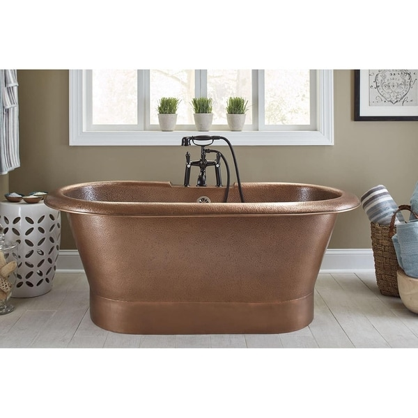 Sinkology Thales Copper Bathtub with Overflow 2-Hole Faucet Deck in Antique Copper - Brown. Opens flyout.