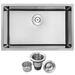 Phoenix PLZ-24 Stainless Steel Single Bowl Undermount Square Kitchen Sink