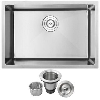 "26"" Phoenix PLZ-23 Stainless Steel 18 Gauge Single Bowl Undermount Square Kitchen Sink w/ Tight Radius Corners"