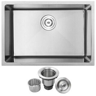 "26"" Phoenix PLZ-23 Arlo Series 18-Gauge Stainless Steel Undermount Single Basin Kitchen Sink"
