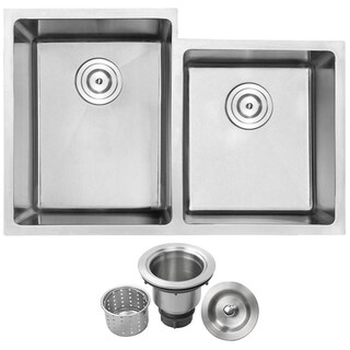 Phoenix PLZ-20 Stainless Steel Double Bowl Undermount Square Kitchen Sink